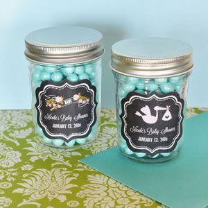 Chalkboard Baby Shower Personalized Mini Mason Jars image