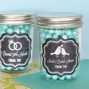 Chalkboard Wedding Personalized Mini Mason Jars image