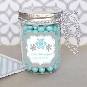 Personalized Winter Wonderland Party Mini Mason Jars image