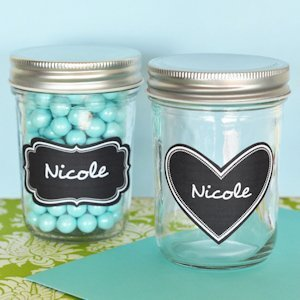 Mini Mason Jar Wedding Favors with Vinyl Chalkboard Labels image
