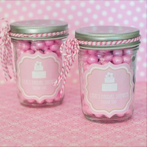 Pink Cake Personalized Mini Mason Jars image