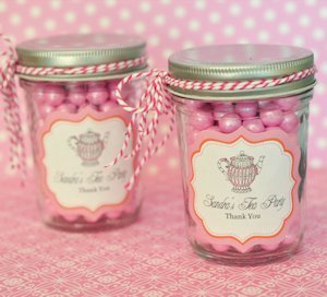 Tea Party Personalized Mini Mason Jars image