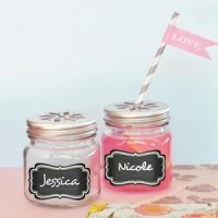 Mason Drinking Jar Favors with Vinyl Chalkboard Labels