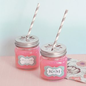 Personalized Mason Drinking Jars with Flower Lids image