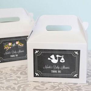 Chalkboard Baby Shower Personalized Mini Gable Boxes (set of image