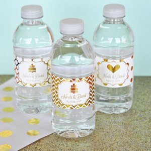 Wedding Water Bottle Labels.Personalized Metallic Foil Wedding Water Bottle Labels