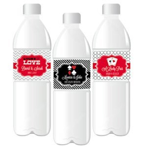 'A Lucky Pair' Personalized Wedding Water Bottle Labels image