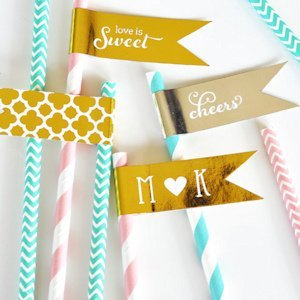 Personalized Metallic Foil Flag Wedding Labels image