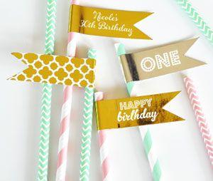 Personalized Metallic Foil Flag Labels - Birthday image
