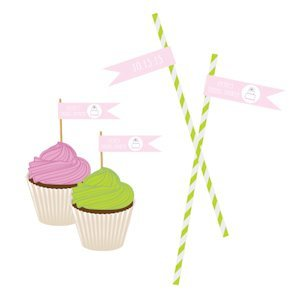 Pink Cake Personalized Flag Labels image