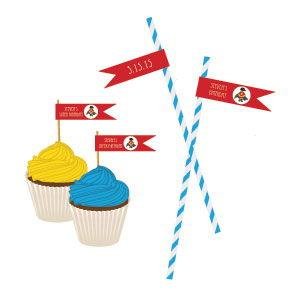 Super Hero Boy Birthday Personalized Flag Labels image