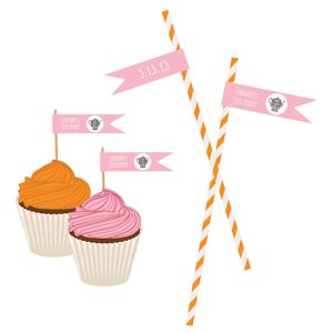 Tea Party Personalized Flag Labels image