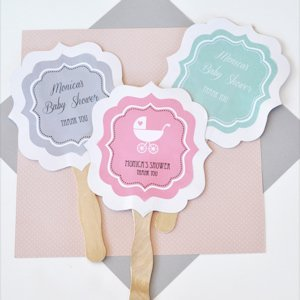 Personalized Baby Shower Paddle Fans image