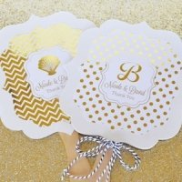 Personalized Metallic Foil Paddle Wedding Fans