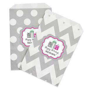 Personalized Holiday Party Chevron & Dots Goodie Bags (set o image