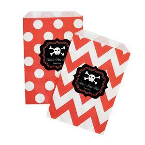 Pirate Party Chevron & Dots Goodie Bags (set of 12) image