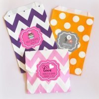 Personalized Chevron & Dots Wedding Goodie Bags (Set of 12)