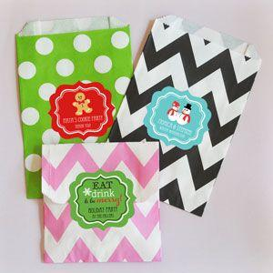Personalized Winter Chevron & Dots Goodie Bags (set of 12) image