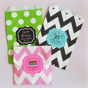 Personalized Birthday Chevron & Dots Goodie Bags (set of 12) image