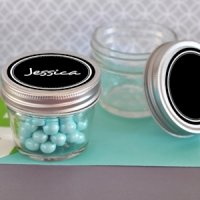 Mini Mason Jar Favors with Vinyl Chalkboard Labels - 4 oz.