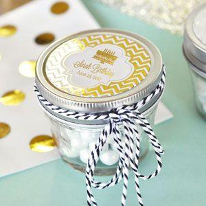 Personalized Metallic Foil Small 4 oz Mason Jars - Birthday image