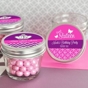Personalized Sweet 16/15 Mini Mason Jar Favors - 4 oz image