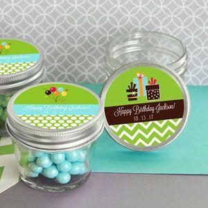 Personalized Birthday Small 4 oz Mason Jars image