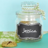 Mini Cookie Jar Favors with Vinyl Chalkboard Labels