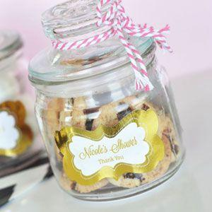 Personalized Metallic Foil Mini Cookie Jars - Baby image