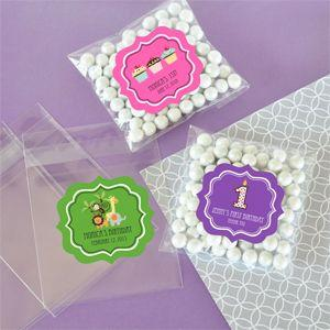 Personalized MOD Kid's Birthday Clear Candy Bags (Set of 24) image