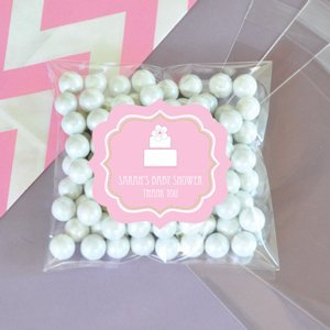 Personalized Pink Cake Clear Candy Bags (Set of 24) image