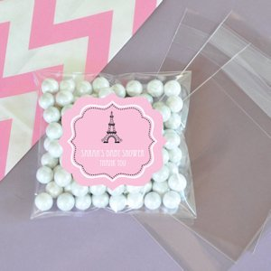Personalized Parisian Party Clear Candy Bags (Set of 24) image
