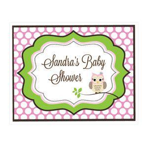 Pink Owl Party Sign image