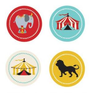 Circus Carnival Party Decorative Mini Stickers (Set of 32) image