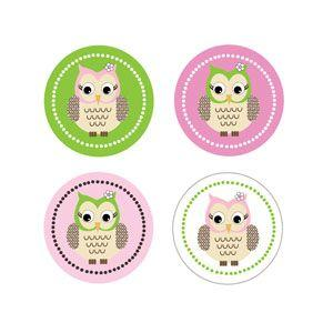 Pink Owl Decorative Mini Stickers (Set of 32) image