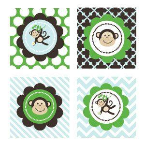 Blue Monkey Party Decorative Favor Tags (Set of 20) image
