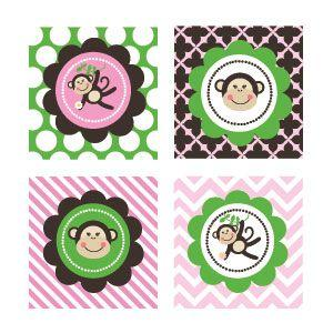 Pink Monkey Party Decorative Favor Tags (Set of 20) image