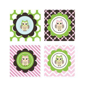 Pink Owl Decorative Favor Tags (Set of 20) image