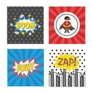 Super Hero Boy Birthday Decorative Favor Tags (Set of 20) image