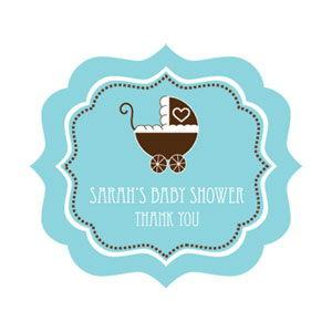 Blue Baby Shower Frame Personalized Labels image
