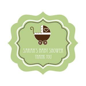 Green Baby Shower Frame Personalized Labels image