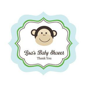 Blue Monkey Party Frame Personalized Labels image