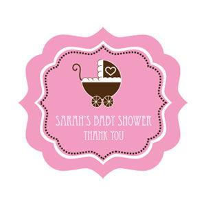 Pink Baby Shower Frame Personalized Labels image