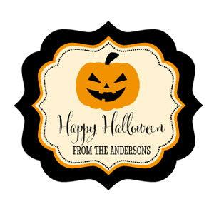 Personalized Classic Halloween Frame Labels image