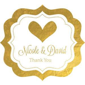 Personalized Metallic Foil Frame Labels - Wedding image