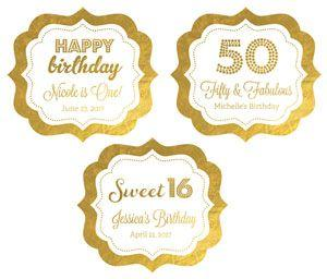 Personalized Metallic Foil Frame Labels - Birthday image