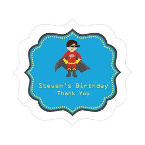 Super Hero Boy Birthday Frame Personalized Labels image