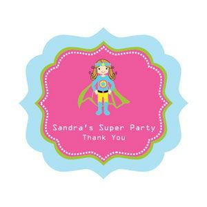 Super Hero Girl Birthday Frame Personalized Labels image