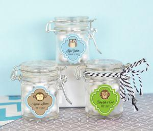 Personalized Baby Animal Glass Jar with Swing Top Lid - MINI image