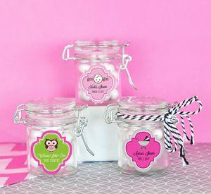 Personalized Baby Shower Glass Jar with Swing Top Lid - MINI image